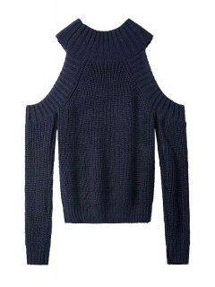 Round Neck Solid Color Cut Out Sweater - Purplish Blue