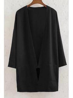 Long Sleeve Solid Color Coat - Black M