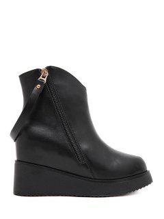 Rivets Zipper Solid Color Ankle Boots - Black 38