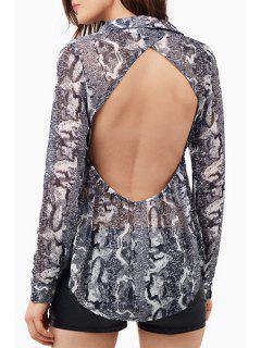 Snake Print Turn Down Collar Long Sleeve Shirt - Black L