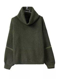 Turtle Neck Zippers Embellished Long Sleeve Sweater - Blackish Green