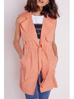 Solid Color Lapel Neck Sleeveless Trench - Orangepink M