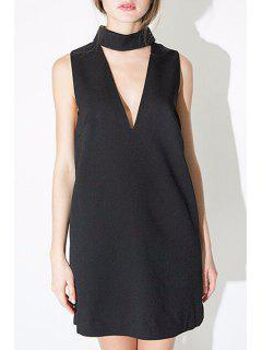 Cut Out Stand Neck Sleeveless Dress - Black M