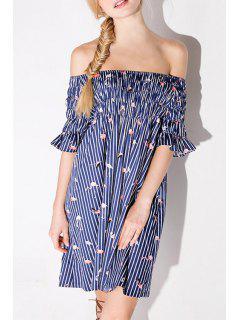 Flamingo Print Slash Neck Half Sleeve Dress - Deep Blue Xl