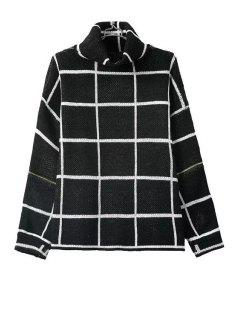 Turtle Neck Color Block Plaid Long Sleeve Sweater - Black