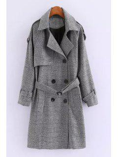 Double-Breasted Wool Coat With Belt - Gray L