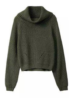 Turtle Neck Pure Color Long Sleeve Sweater - Blackish Green