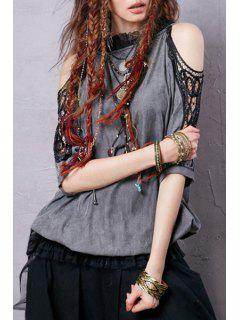 Ruff Collar Voile Lace Splicing Half Sleeve Blouse - Gray L