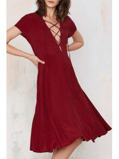 Plunging Neck Lace Up Short Sleeve Dress - Wine Red M