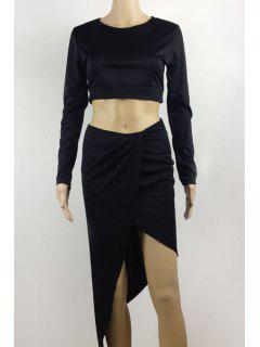Long Sleeve Crop Top And Solid Color Skirt Suit - Black L