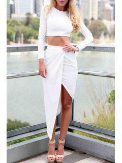 Long Sleeve Crop Top And Solid Color Skirt Suit - White Xl