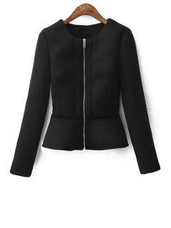Zippered Solid Color Peplum Coat - Black S