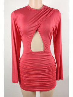 Hollow Stand Long Sleeve Bodycon Dress - Peach Red L