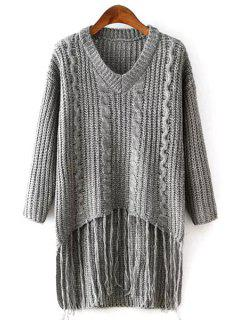 Bat-Wing Sleeve Weave Pattern V-Neck Gray Sweater - Gray