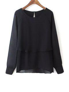 Black Scoop Neck Long Sleeve Blouse - Black M