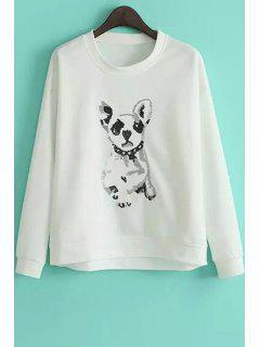 Puppy Pattern Loose Sweatshirt - White M