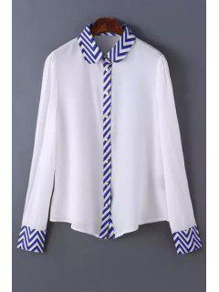 Zig Zag Spliced Shirt Neck Long Sleeve Shirt - White L