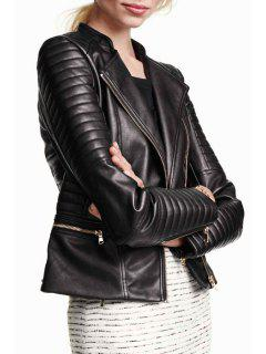 Zip Pocket PU Leather Coat - Black 2xl