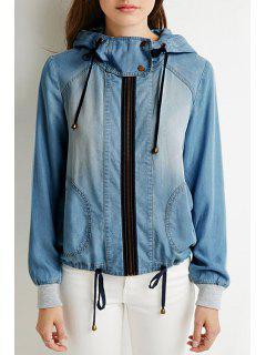 Hooded Bleach Wash Denim Coat - Blue Xl