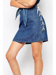 Packet Buttocks Lace-Up Denim Skirt - Blue 2xl