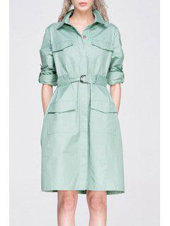 Long Sleeve Big Pocket Coat Dress With Belt - Light Green M