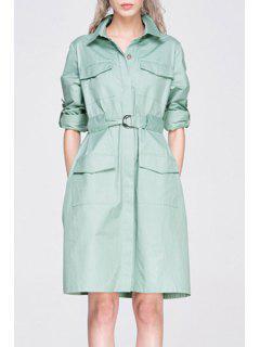 Long Sleeve Big Pocket Coat Dress With Belt - Light Green S