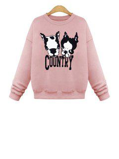 Dog Pattern Long Sleeves Sweatshirt - Pink M