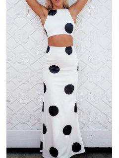 Black Polka Dot Sleeveless Crop Top + Skirt - White And Black Xl
