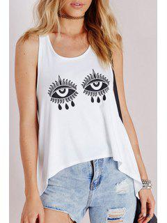 Racerback Irregular Hem Tank Top - White L