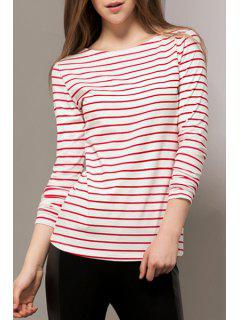 Color Block Stripes Long Sleeve T-Shirt - Red L