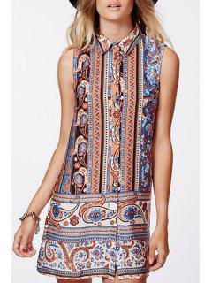 Vintage Print Shirt Neck Sleeveless Dress - Orangepink L