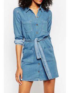 Blue Denim Turn Down Collar Long Sleeve Dress - Blue M