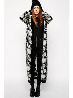 Floral Pattern Long Sleeve Maxi Cardigan - Black And Grey