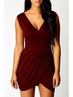 Sleeveless Irregular Hem Bodycon Dress - Wine Red L