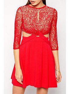 Front Twist Openwork Lace Hook Dress - Red M
