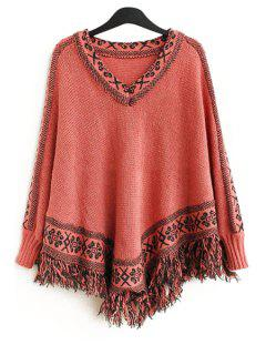 Batwing Sleeve Tassels Cape Sweater - Deep Pink