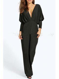 Plunging Neck Solid Color Ruffle Jumpsuit - Black Xl