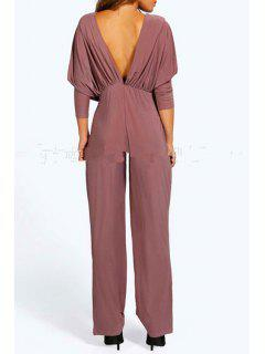 Plunging Neck Solid Color Ruffle Jumpsuit - Light Brown S