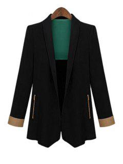 Color Block Shawl Collar Long Sleeve Blazer - Black M
