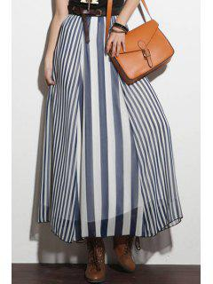 High-Waisted Vertical Stripes Long Skirt - Blue