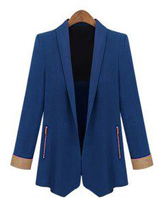 Color Block Shawl Collar Long Sleeve Blazer - Sapphire Blue L
