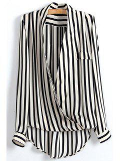 High Low Striped Wrap Blouse - White And Black M