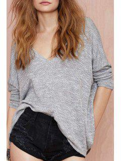 Deep V Neck Batwing Long Sleeve Sweater - Gray M