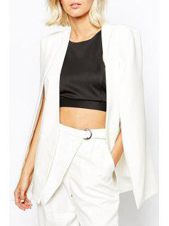 Solid Color Split Sleeveless Blazer - White L