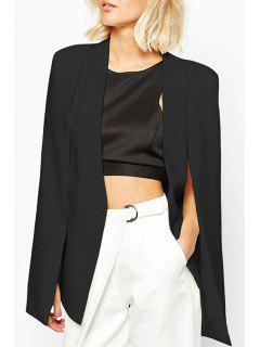 Solid Color Split Sleeveless Blazer - Black L