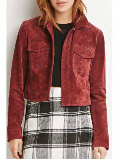 Solid Color Vintage Long Sleeve Jacket - Wine Red Xl