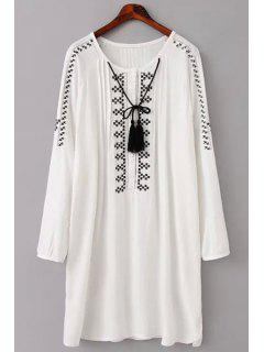 Embroidery Long Sleeve Scoop Neck Dress - White L