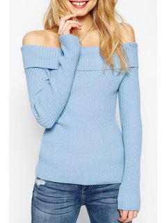Slash Neck Solid Color Long Sleeve Sweater - Blue Xl