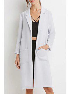 Lapel Pocket Solid Color Long Sleeve Trench Coat - Light Gray S