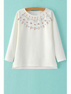 Diamante Jewel Neck Long Sleeve Sweatshirt - White M